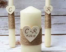 Wedding Unity Candle Set Rustic Ivory Burlap Church Ceremony