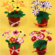 2 Pcs Set Kids DIY Handmade 3D Fabric Flower Pots Art Sticker Children
