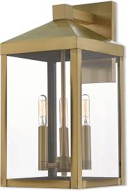 livex 20584 01 nyack antique brass outdoor wall light sconce lvx