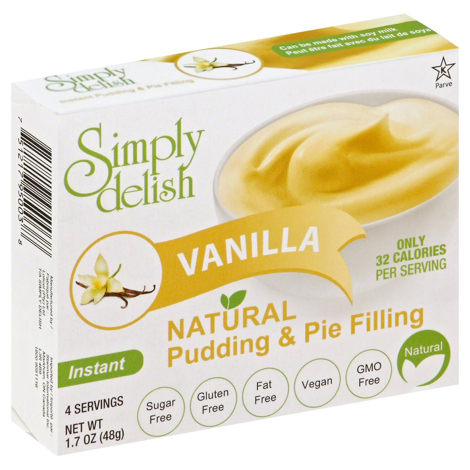 Simply Delish Vanilla Pudding Mix - 6 x 1.oz