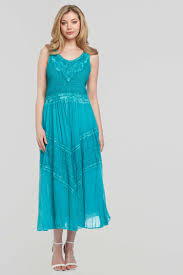 cotton crinkle embroidered maxi dress in emerald romanoriginals