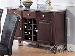 Server Sideboard With Marble Top In Espresso Finish