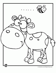 Cute Cow And Bumblebee Coloring Page