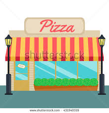 Pizza Shops And Store Front Flat Style Vector Illustration