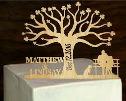 Rustic Cake Topper A Tree Of LifeCustom Wedding Personalized With Your First Names Dog Silhouette