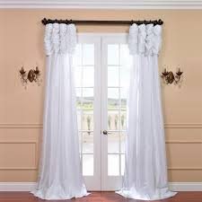 120 Inch Long Sheer Curtain Panels by Eff Ruched Header Solid Color Faux Silk Taffeta 120 Inch Curtain