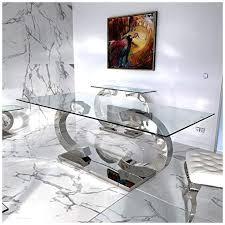 cc esstische edelstahl esszimmer tisch glastische glas hochglanz 220x100x75 cm