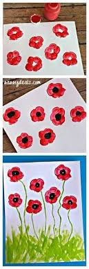Fingerprint Poppy Flower Craft For Kids Summer Veteransday Spring Art Project