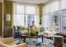 Modern Curtains For Living Room Pictures by Interior Red Bay Window Curtains On The Yellow Wall With Round