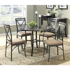 dorel black coffee faux marble top dining room set 5 piece