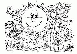 Sunny Garden Coloring Page For Kids Seasons Pages Inside