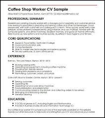 Cafe Worker Sample Resume Interesting Cv Examples Uk Education
