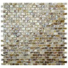 Shell Stone Tile Imports by Merola Tile Conchella Subway Perla 11 3 4 In X 11 3 4 In X 2 Mm