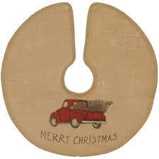 MERRY CHRISTMAS Red Pickup Truck Burlap Christmas Tree Skirt 36