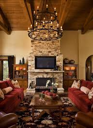 Rustic Living Rooms With Fireplaces Room Wall Mounted Tv Custom