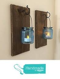 Mason Jar Wall Sconce SET OF TWO Lanterns Rustic Decor