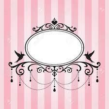 Chandelier Vintage Border Frame On Pink Stripe Background Stock Vector