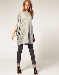 asos oversized tunic top in natural lyst