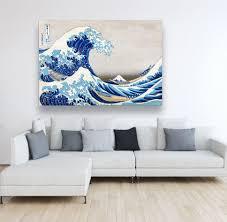 kunst große welle leinwand blau weiß druck auf leinwand