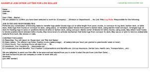 Log Roller Job Offer Letter