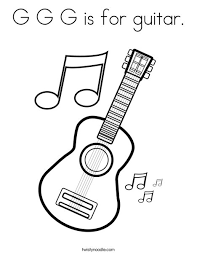 Extravagant Guitar Coloring Page With Music Notes