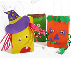 4 PCs Diy Halloween Color Paper Bag For Kids Child Sticker Toys Children Handmade Kindergarten Craft Learning Educational In Stickers From