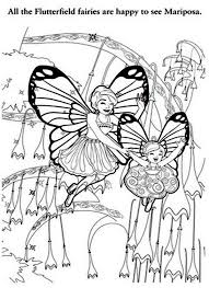 All The Flutterfield Fairies Are Happy To See Barbie Mariposa Colouring Page