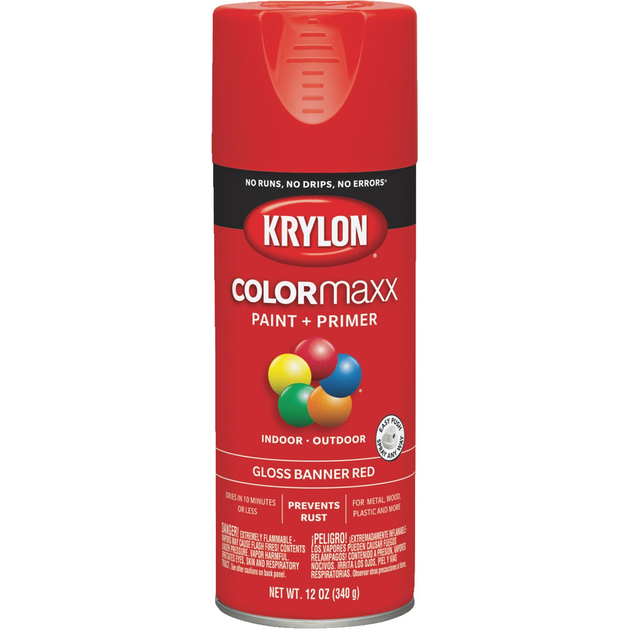 Krylon K05503007 COLORmaxx Spray Paint Gloss Banner Red 12 Ounce