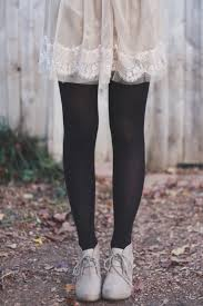 to try cream polka dot dress black tights cream platforms