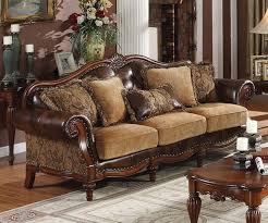 Traditional Wooden Sofa Designs Amber Chocolate Sienna Theme Soft Five Pillows Elegance Table And Desk Picture
