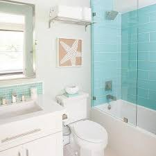 shower with white and turquoise tiles design ideas