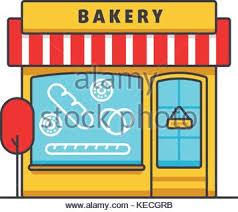Bakery building flat line illustration concept vector isolated icon Stock