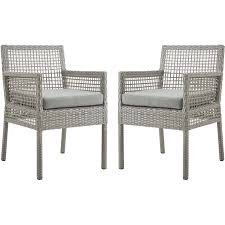 Aura Outdoor Dining Arm Chair In Gray PE Rattan & Gray Fabric (Set Of 2) By  Modway