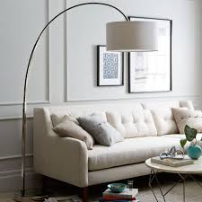 overarching linen shade floor l polished nickel polished