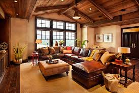 Living Room Chic Rustic Design Ideas With Brown Wood Ceiling And U Shape Laminated Leather Sofa Square Tufted Fabric