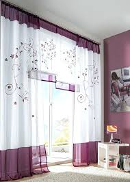Plum Curtain Panels 1 Pair Floral Embroidered Tab Top Sheer Window