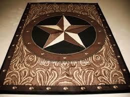 5x7 53 X 72 Texas Star Western Rustic Cowboy Brown Black Decor Area Rug