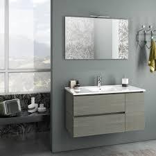 zusammensetzung mobiles badezimmer ausgesetzt 100 cm zwei schubladen und eine tür waschbecken spiegel und graue flam led le tft