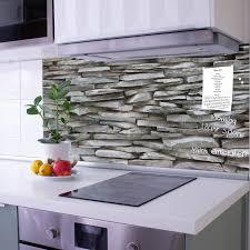küchenrückwand glas motiv steinwand