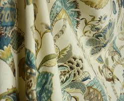 Jacobean Floral Curtain Fabric by Finders Keepers French Blue Jacobean Floral Fabric Traditional