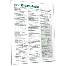 Excel 2016 Quick Reference Training Guide Cheat Sheet Beezix
