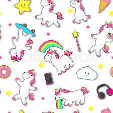 Seamless Pattern Backdrop With Cute Unicorn Characters Stars And Rainbows Flat Cartoon Vector Illustration On White Background Rainbow Unicorns