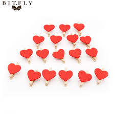 100Pcs Love Heart Wooden Clip Photo Paper Craft Diy Clips Wedding Party Christmas Favor Romantic Cute Mini Kawaii Red In DIY Decorations From Home