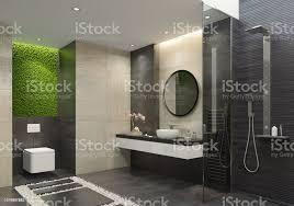 luxusbadezimmer mit innovativen grünes moos wand stockfoto und mehr bilder boden
