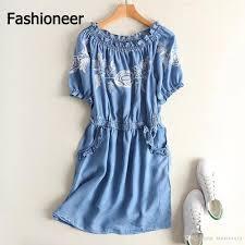 fashioneer denim dress for woman embroidery floral slash neck