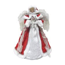 Santas Workshop 16 In Red And Silver Polyester Angel Christmas Tree Topper