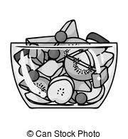 Fruit salad icon in monochrome style isolated on white background Sport and fitness symbol stock