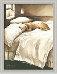 Amazoncom Small Print Andrew Wyeth Lab Master Bedroom Dog on Bed