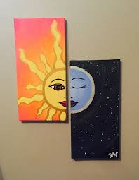 Sun And Moon Matching Canvas Paintings