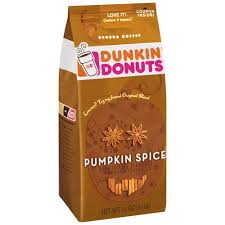 Dunkin Donuts Pumpkin Spice Latte Caffeine by Dunkin U0027 Donuts Pumpkin Spice Ground Coffee 11 Oz Walmart Com